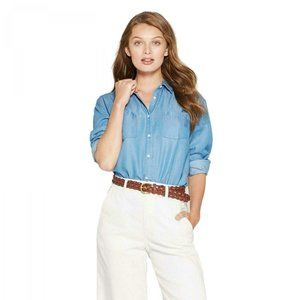 NWT A New Day Button Tunic Shirt Top Medium Blue
